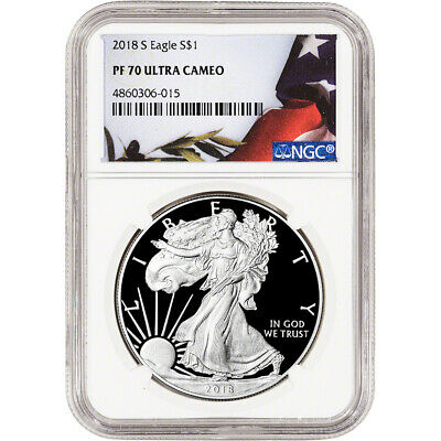 2018-S American Silver Eagle Proof - NGC PF70 UCAM Flag Label