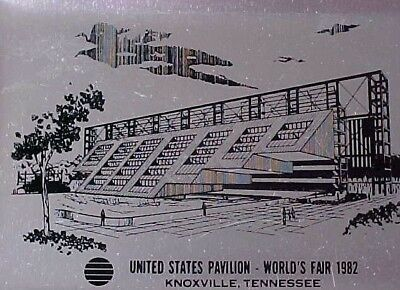 United States Pavilion 1982 World's Fair Knoxville Tennessee Souvenir Metal Tray