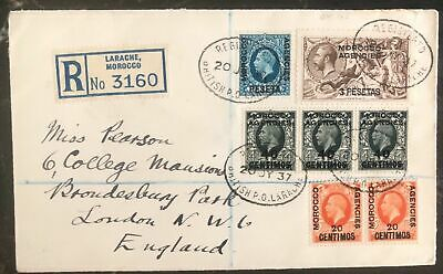 1937 Larache Morocco Agencies Registered  cover To London England
