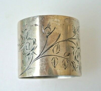 Lovely Antique Sterling Silver Floral Engraved Tall Napkin Ring