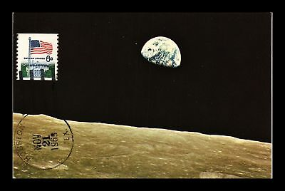 Dr Jim Stamps Us Apollo 8 Earth View Cancel On Front Space Postcard Houston
