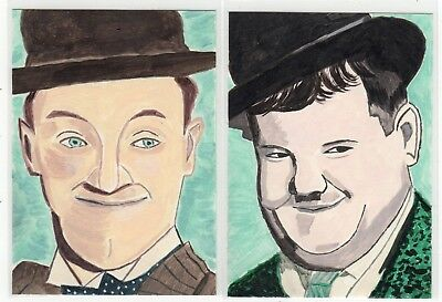 Set of 2 Original ACEO Paintings STAN LAUREL & OLIVER HARDY Acrylic Portraits