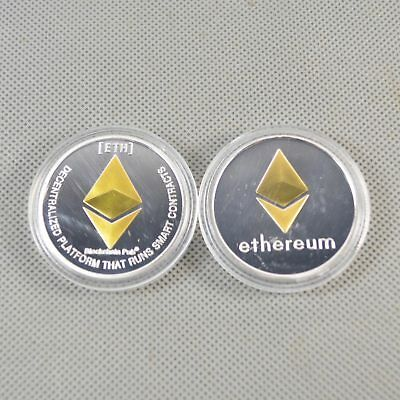 1 Pcs Commemorative Collectible Golden Silver Iron ETH Ethereum Miner Coin NB15