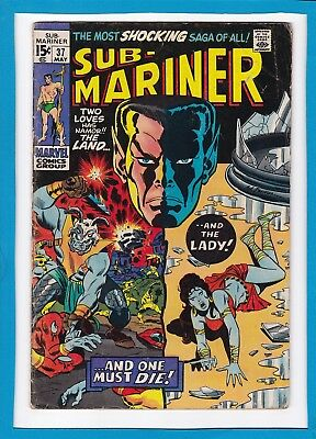 "Sub-Mariner #37_May 1971_Fine_""land Or Lady...one Must Die""_Bronze Age Marvel!"