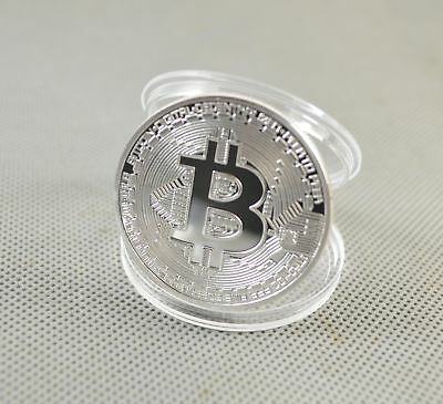 1pcs Silver Plated Commemorative Bitcoin Collectible Golden Iron Miner Coin N07