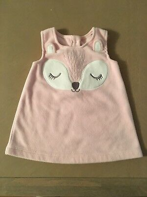 3-6 Month Baby Girl Pink Pinafore Dress Animal Fox Winter