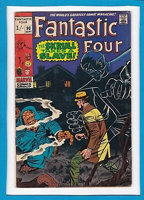 """Fantastic Four #90_Sept 1969_Very Good_""""the Skrull Takes A Slave""""_Silver Age Uk!"""