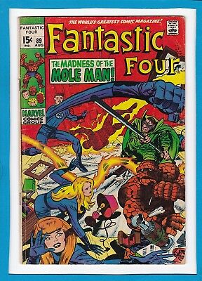 """Fantastic Four #89_Aug 1969_Vg Minus_""""the Madness Of The Mole Man""""_Silver Age!"""