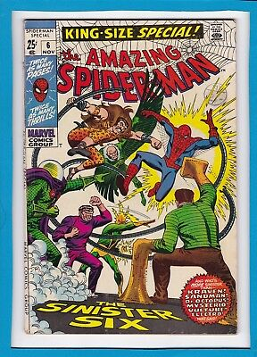 "Amazing Spider-Man King-Size Special #6_Nov 1969_Very Good/fine_""sinister Six""!"