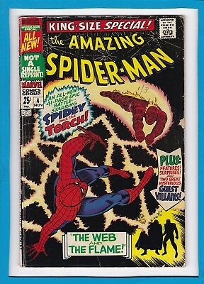 "Amazing Spider-Man King-Size Special #4_1967_Vg+_Human Torch_""web & The Flame""!"