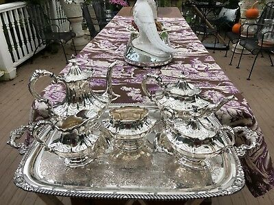 Antique American Silver-plate 5 Piece Coffee & Tea Set with Tray