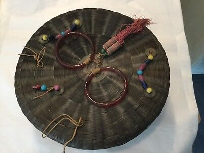 """Antique 12"""" Chinese sewing basket Peking glass bangles and beads, coins, tassel"""