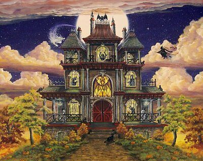 Folk Art HALLOWEEN PRINT Ghostly Manor Haunted House Witch Cat CANVAS Print