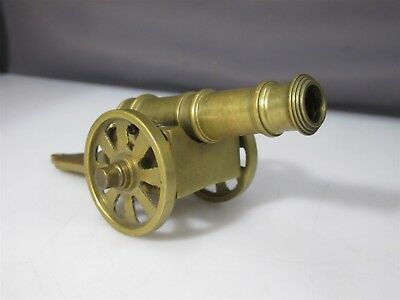 Vintage Decorative Brass Rolling Cannon Non-Functioning Decoration