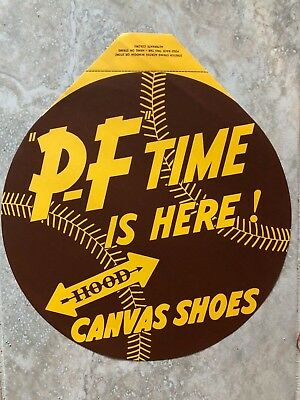 Vintage P F Canvas Shoes Brown Baseball Display Advertising Store Window Banner