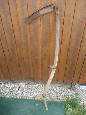 "Vintage Antique 57"" Long Scythe Hay Grain Sickle Farm Tool Blade is 14"" Long"