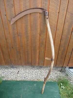 "Vintage Antique 53"" Long Scythe Hay Grain Sickle Farm Tool Blade is 21"" Long"