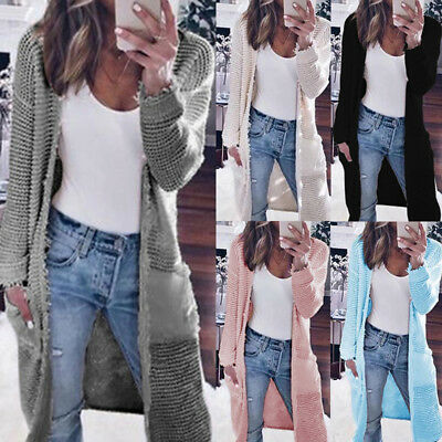 Women CARDIGAN Ripped Knitted Coat Sweater Long Jacket Casual Fall Winter S-XL