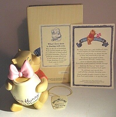 "DISNEY POOH & FRIENDS-NIB! ""WHAT I LOVE IS SHARING WITH YOU"" Pooh  3 1/2"" Tall"