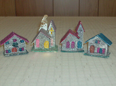 Vintage Japan Putz Mica Glitter Churches and Houses Christmas Ornaments FreeShip