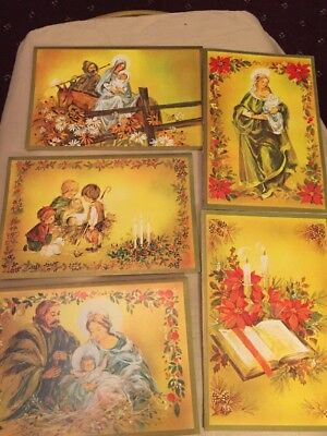 VTG 1960's/70's Woolco Woolworth Boxed Set Of 21 Bronzed  Christmas Cards