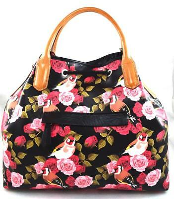 de1e100d5311  300 NWT Cavalcanti Made in Italy Floral Rose Black Leather Handbag  ~Perfect!