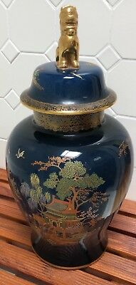 CARLTON WARE LARGE NEW MIKADO COVERED VASE w. FINIAL -  MINT CONDITION