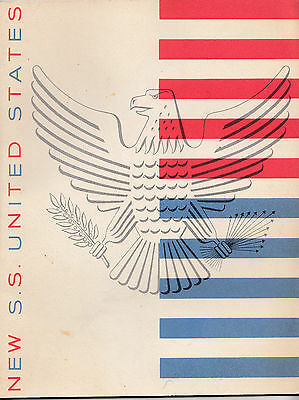 SS UNITED STATES LINES Maiden Voyage Brochure  24 Pages Pull out center fold out