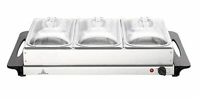 Hyfive Hot Buffet Server and Warming Tray 3-Pan Stainless Steel