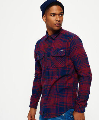 New Mens Superdry Milled Flannel Shirt Lavenham Red Check