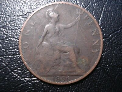 Great Britain 1896 Penny Coin Deceased Estate Find r