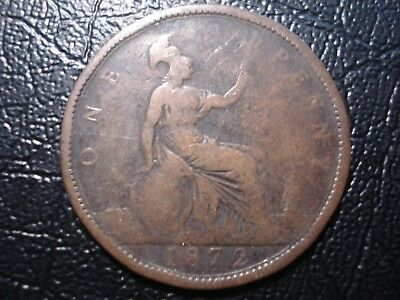 Great Britain 1872 Penny Coin Deceased Estate Find r