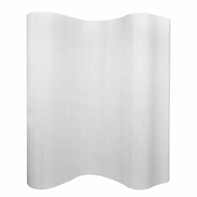 vidaXL Biombo de Bambú Plegable Flexible Blanco Privacidad Decoración 250x195 cm