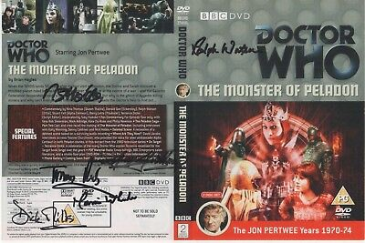 Dr Who The Monster of Peladon DVD Cover Auto by 6 People