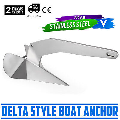 18 lb 8 kg Boats from 25-40 ft* Stainless Steel Delta Style Boat Anchor
