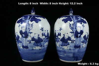 Chinese Beautiful Pair Blue and White Porcelain Boys Characters Tea Caddies