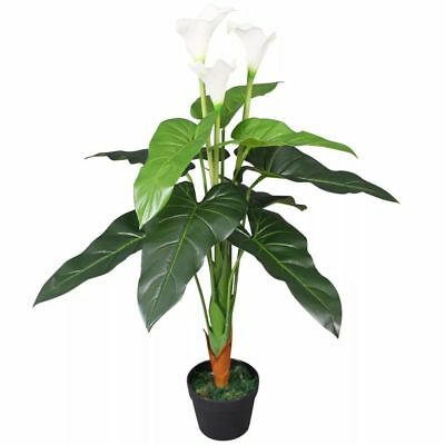 vidaXL Planta Cala Lilly Artificial con Macetero Altura Total 85 cm Color Blanco