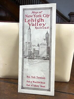 Lehigh Valley Railroad 1914 NYC NEW YORK CITY MAP Trip Brochure Black Diamond