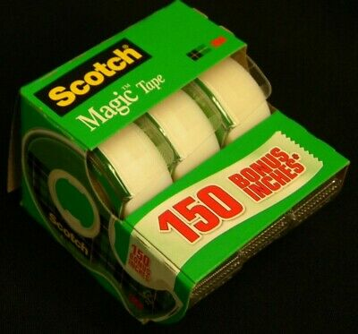 3 Bonus Rolls Genuine 3M SCOTCH Magic Tape in Hand Dispenser 3 Rolls 3/4 x 350""