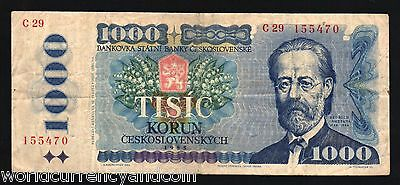 Czechoslovakia 1000 Korun P98 1985 Castle Smetana Colorful Euro Money Bank Note