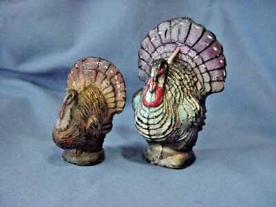 2 Vintage Gurley Thanksgiving Turkey Candles Unused 1 Small 1 Large