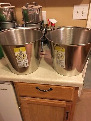 stainless steel milk pail 3 1/2 Gallons Each Sale Is For Two