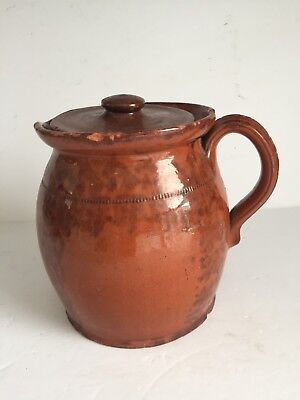 Antique American Manganese Glaze Redware Covered Batter Pitcher Dotted Bean Line