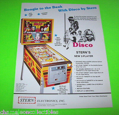 DISCO By STERN 1977 ORIGINAL NOS PINBALL MACHINE PROMO SALES FLYER