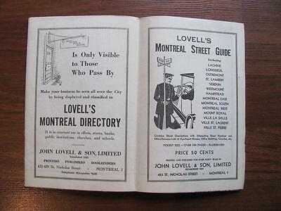 Vintage 1948 Lovell's Map Of MONTREAL & Street Index Quebec Canada Foldout