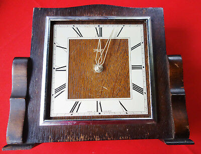 old vintage art deco wood mounted clock by smiths