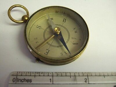 Large Antique Brass Pocket Compass with Transit lock Good Working Order
