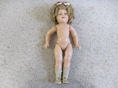 "Vintage 30S Shirley Temple Composition Ideal 18"" Doll W/pin Nr"