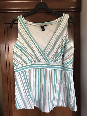 H and M 'MAMA' Maternity Top, White with green blue grey diagonal stripe- size L