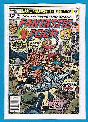 "Fantastic Four #180_March 1977_Vf+_""bedlam In The Baxter Building""_Bronze Uk!"